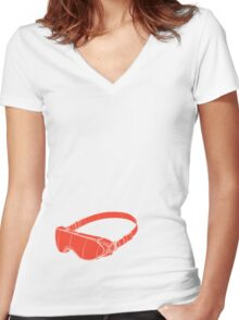 Red Goggles Women's Fitted V-Neck T-Shirt