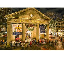 Quincy Market at Christmas Photographic Print