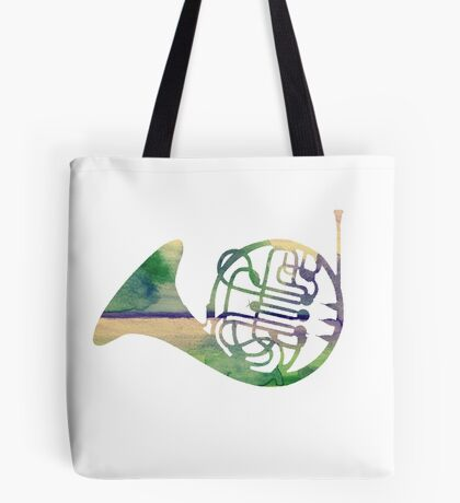 Watercolor French Horn Tote Bag