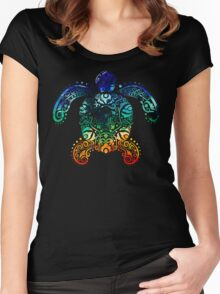 Inked Sea Turtle Women's Fitted Scoop T-Shirt