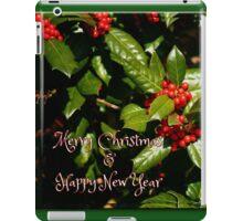 Merry Christmas + Happy New Year Holly iPad Case/Skin