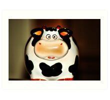 Makes you wonder....whats happening behind the cow Art Print