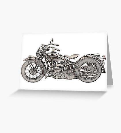 1930 Harley Davidson Motorcycle Greeting Card