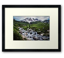 Mount Rainier View from Myrtle Falls Framed Print