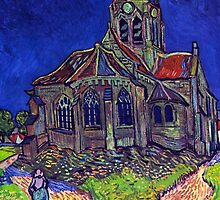 'Church of Auvers' by Vincent Van Gogh (Reproduction) by Roz Abellera Art Gallery