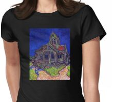 'Church of Auvers' by Vincent Van Gogh (Reproduction) Womens Fitted T-Shirt