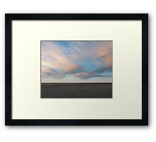 Painted pink clouds landscape photography Framed Print