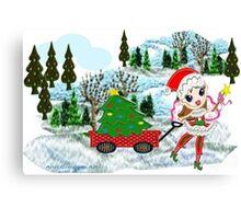A Christmas Fairy in winter wonderland  Canvas Print