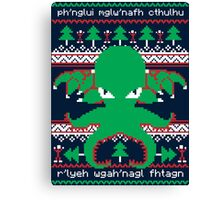 Cthulhu Cultist Christmas - Cthulhu Ugly Christmas Sweater Canvas Print