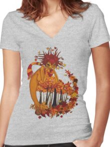 Autumn Spirit Women's Fitted V-Neck T-Shirt