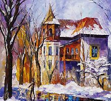 Winter Town — Buy Now Link - www.etsy.com/listing/215358453 by Leonid  Afremov