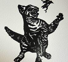 cat eats bird  by Sarah Jeffrey