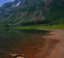 Maroon Bells from Crater Lake by Paul Gana