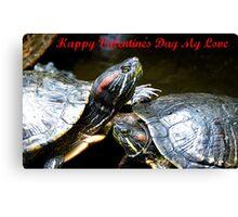 Happy Valentines Day My Love - Turtles NZ Canvas Print