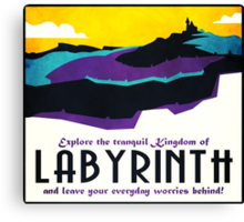 Explore the tranquil Kingdom of Labyrinth - retro travel poster Canvas Print