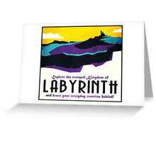 Explore the tranquil Kingdom of Labyrinth - retro travel poster Greeting Card