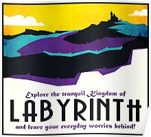 Explore the tranquil Kingdom of Labyrinth - retro travel poster Poster