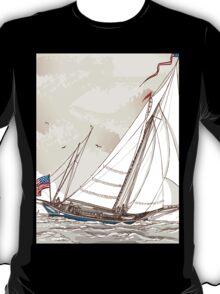 Vintage View of American Yacht in Regatta T-Shirt
