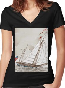 Vintage View of American Yacht in Regatta Women's Fitted V-Neck T-Shirt