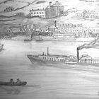 My Pencil Drawing of a Paddle Steamer on the Danube - all products bar duvet by Dennis Melling
