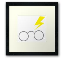 Nerdy boy glasses with lightning strike Framed Print