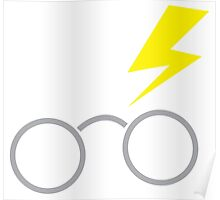 Nerdy boy glasses with lightning strike Poster
