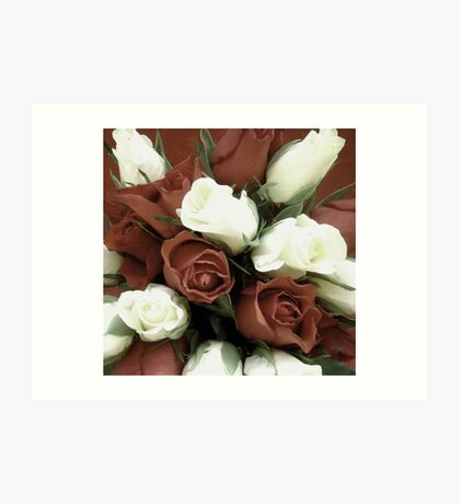 Faded rose white and terracotta floral photography Art Print