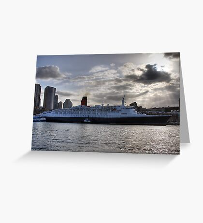 QE II - Leaving Sydney Harbour Greeting Card