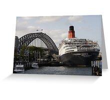 QE II - Leaving Sydney Harbour II Greeting Card