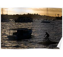 Bicycling In Sydney Harbour Poster