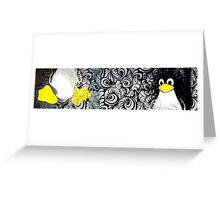 Penguin Linux Tux art graphic Greeting Card