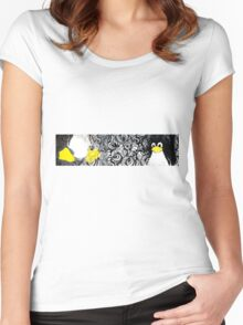 Penguin Linux Tux art graphic Women's Fitted Scoop T-Shirt