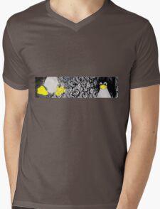 Penguin Linux Tux art graphic Mens V-Neck T-Shirt