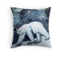 Polar bear under starry skies Throw Pillow