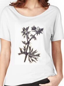 Sea Holly Sprig, lino cut Women's Relaxed Fit T-Shirt