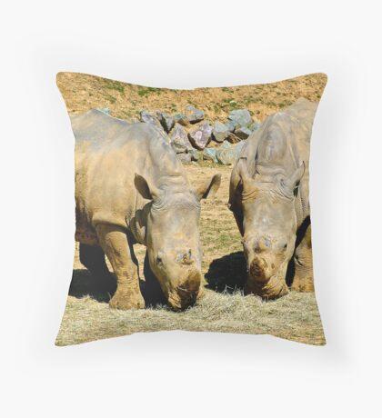 Two Rhinos Throw Pillow