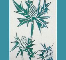 Sea Holly lino cut print by BellaBees
