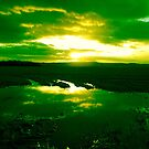 Sunset Reflection green by qshaq