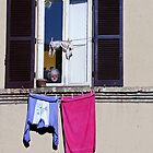 Lady in a window, with laundry by al holliday