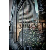 Christmas Window Reflection - Adams Street - Chicago Photographic Print