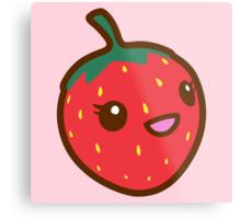 Kawaii Strawberry Metal Print