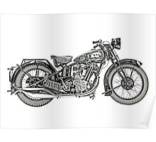 1929 BSA Sloper Motorcycle Poster