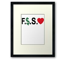 Fuck Money Spread Love [Black] Framed Print