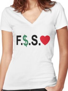 Fuck Money Spread Love [Black] Women's Fitted V-Neck T-Shirt