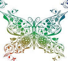 Abstract multicolored butterfly 4 by AnnArtshock
