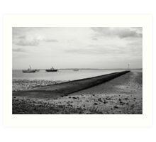Boats and fishing pier Art Print