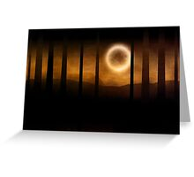 Dark forest in orange mist and full moon Greeting Card