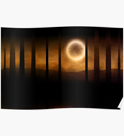 Dark forest in orange mist and full moon Poster