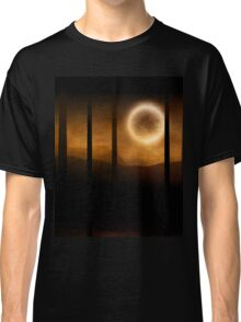 Dark forest in orange mist and full moon Classic T-Shirt