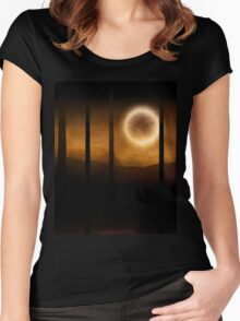 Dark forest in orange mist and full moon Women's Fitted Scoop T-Shirt